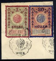 AUSTRIA 1910 1 Kr. And 30 H. Fiscal Stamps Used On Piece. - Revenue Stamps