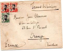 INDOCHINE LETTRE DU 23/01/1913 RECUE ORANGE LE 18/02/1913 PAR LE TRANSIBERIEN CACHET DE CIRE ROUGE RARE - Indochine (1889-1945)
