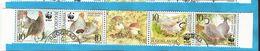 2000 X  2066-69  JUGOSLAVIJA FAUNA BIRDS WWF Partridge FUNGHI  STRIP USED - W.W.F.