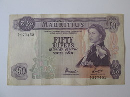 Rare! Mauritius 50 Rupees 1967 Banknote - Mauritius