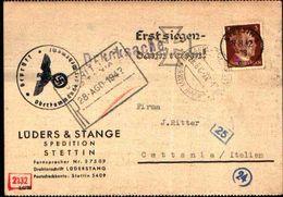 87056) Cartolina Con 3d.effige Di Adolf Hitler Da Stettin A Catania  Il 19/8/1942 Annulli Particolari - Deutschland
