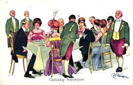 Neujahr, Feiernde Gesellschaft, Sign. Schönpflug, 1922 - Humor