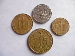 (E212)-AFRIQUE DE L'OUEST-ANNEE 1992-LOT DE 4 PIECES- 5,10, 25 ET 50 FRANCS - Coins & Banknotes