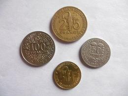(E212)-AFRIQUE DE L'OUEST-ANNEE 1991-LOT DE 4 PIECES- 5,25, 50 ET 100 FRANCS - Coins & Banknotes