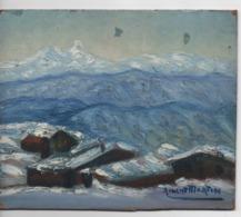 Cpa.Tableaux.Peinture.Gouache.Albert Martin.Villaret.Effet De Neige.1920 19 X 15,5 Cm - Gouaches