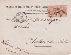 FRANCE 1861 LETTRE DE  PARIS POUR CHALONS SUR SAONE   YT N° 16 PAIRE - 1849-1876: Période Classique