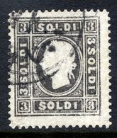AUSTRIA: LOMBARDY VENETIA 1858 3 Soldi Type II  Used.  Michel 7 II - 1850-1918 Empire