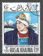 Ras Al Khaima 1968. Michel #349 (U) Gold Winner, Slalom, Nancy Greene (CAN) - Ras Al-Khaima