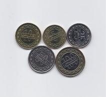 BAHRAIN FULL 5 HIGH GRADE 2010 - 2012 COINS SET 5 TO 100 FILS BIMETALLIC COIN - Bahrain