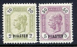 AUSTRIAN  POST IN LEVANT  1891 Franz Josef I Surcharges (2) LHM / *.  Michel 28-29 - Eastern Austria