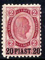 AUSTRIAN  POST IN LEVANT  1890 Franz Josef I Surcharge 20 Pi. On 2 G. LHM / *.  Michel 27 - Eastern Austria