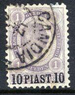 AUSTRIAN  POST IN LEVANT  18960 Franz Josef I Surcharge 10 Pi. On 1 G. Used.  Michel 30 - Oriente Austriaco