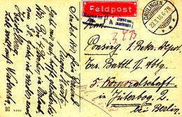 CP En Feldpost Obl DRULINGEN Du 23.3.18 Adressée à Jüterborg Avec Censure De Hagenau - Marcophilie (Lettres)