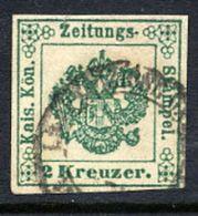 AUSTRIA 1853 2 Kr. Green, Used.  Michel 1c - Newspapers