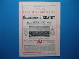 (1931) Spécialité De Coutils à Matelas - Éts GRATRY - Rue De Pas à Lille - Tissages à Halluin, Hellemmes Et Morestel - Documentos Antiguos