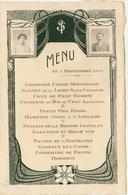 Menu Art Nouveau Avec Deux Photos En Médaillon - Menus