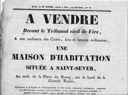 14 SAINT-SEVER - A VENDRE Par ADJUDICATION - MAISON D'HABITATION - 23 Juillet 1841 - Place Du Bourg, Sur La Grande Route - Affiches