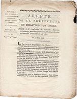 Arrêté De La Préfecture Du Département De L'Indre. 17 Juin 1806. Matrices.Contribution Personnelle Et Mobiliaire. - Decrees & Laws