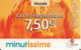 CARTE-PREPAYEE-7.5€-9 TELECOM-LA MINUTISSIME-31/03/2004-V° TG N°Lasers FINS Sur Fond Blanc--PLASTIC - GRATTE-TBE - Andere Voorafbetaalde Kaarten