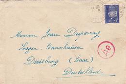 COURRIER Lettre ALLEMAGNE Duisburg 17/08/1943 PETAIN 3° Reich WW2 - Duperray ALLONNES (dpt 49) Cachet Ae - Duitsland
