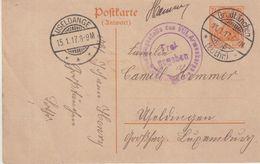 """FRANCE  : LORRAINE . ENTIER POSTAL . OBL . """" GROSSTANCHEN LOTHR """" . POUR LE LUXEMBOURG . 1917 . - Marcophilie (Lettres)"""