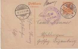 "FRANCE  : LORRAINE . ENTIER POSTAL . OBL . "" GROSSTANCHEN LOTHR "" . POUR LE LUXEMBOURG . 1917 . - Postmark Collection (Covers)"