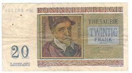 Belgium 20 Fr. 1956, F/VF . Pin Holes. - [ 2] 1831-... : Belgian Kingdom