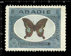 German Poster Stamp, Reklamemarke, Cinderella, ABADIE, Exotische Schmetterlinge, Exotic Butterflies, Insekten, Insects. - Schmetterlinge