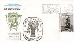 TAAF PA  88 Sur Pli Cachet Langouste 1985 Amsterdam Non Voyagé 1985 - Storia Postale