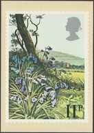 British Flowers, 11p, Bluebells, 1979 - Royal Mail Stamp Card PHQ 34c - Stamps (pictures)