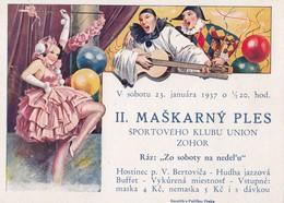Zohor , Maškarny Ples, Sport , Hostinec - V. Bertovič , 1937 ,  Malacky - Slowakije