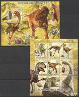 E353 2005 GUINE-BISSAU FAUNA PREHISTORIC ANIMALS DINOSAURS MINERAIS 1KB+1BL MNH - Prehistorics