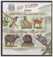1122 Ghana 2002  Panther Deer Ape Buffalo Bird S/S MNH - Timbres