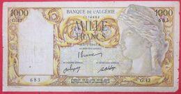 N°40 1 BILLET DE 1000 Frs DE L ALGERIE DU 8/1/1947 - Algeria