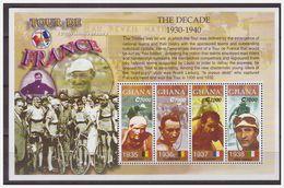 1123 Ghana 2002  Cycling Tour De France 1930-1940 S/S MNH - Wielrennen