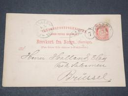 NORVEGE - Entier 10 Ore Pour Bruxelles - 1896 - P 22576 - Entiers Postaux