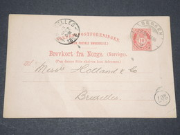 NORVEGE - Entier 10 Ore Pour Bruxelles - 1896 - P 22577 - Entiers Postaux