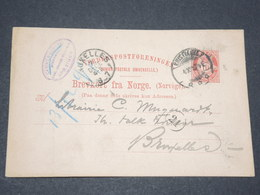NORVEGE - Entier 10 Ore Pour Bruxelles - 1897 - P 22579 - Entiers Postaux