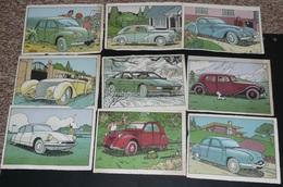 Lot De Fiches Illustrées Sur Les Voitures Anciennes Tacots Tractions, ASTRAPI-ASTRAPAN, DS 2 CV Citroën Renault Matra - Cars