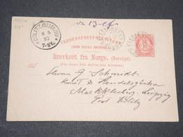 NORVEGE - Entier 10 Ore Pour Leipzig - 1893 - P 22581 - Entiers Postaux