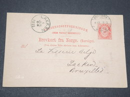 NORVEGE - Entier 10 Ore Pour Bruxelles - 1893 - P 22582 - Entiers Postaux