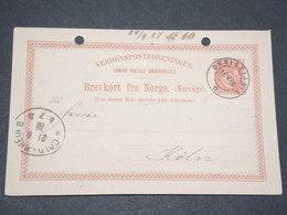 NORVEGE - Entier 10 Ore Pour Cologne Allemagne - 1886 - P 22585 - Entiers Postaux