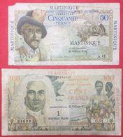 N° 38 2 BILLETS 50 Frs MARTINIQUE ET 100 Frs GUADELOUPE  TRES USAGES ( NOTESHOBBY ) - Banknotes