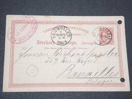 NORVEGE - Entier 10 Ore Pour Bruxelles - 1885 - P 22590 - Entiers Postaux