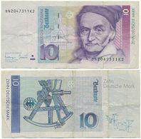 BRD 1993, 10 DM Deutsche Mark, C. F. Gauß, Geldschein, Banknote - [ 7] 1949-… : RFA - Rep. Fed. Tedesca