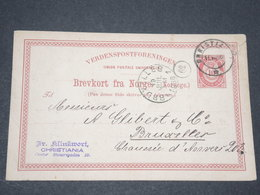 NORVEGE - Entier 10 Ore Pour Bruxelles - 1886 - P 22592 - Entiers Postaux