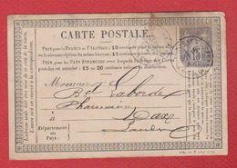 Carte Postale / De Bordeaux / Pour Dax / 18 Août 1877 / Pli - Entiers Postaux