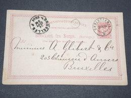 NORVEGE - Entier 10 Ore Pour Bruxelles - 1884 - P 22593 - Entiers Postaux
