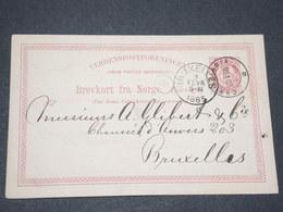 NORVEGE - Entier 10 Ore Pour Bruxelles - 1885 - P 22594 - Entiers Postaux