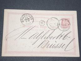 NORVEGE - Entier 10 Ore Pour Bruxelles - 1885 - P 22595 - Entiers Postaux